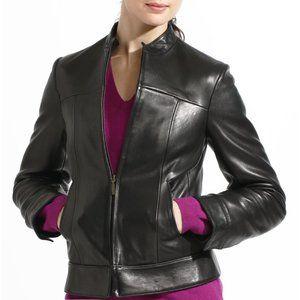 Black Lambskin Leather Jacket US size 40